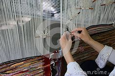 Photo about Traditional weaving loom - woman hands weaving. Image of multi, retro, textures - 91969351 Loom Weaving, Hand Weaving, Hands, Stock Photos, Traditional, Woman, Abstract, Image, Summary