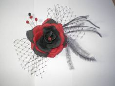Layla Wedding Feathered Black and Red Hair Fascinator