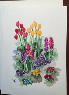 Spring Flower Garden Watercolor Card / Hand Painted Watercolor Card This card is an original. Not a print. Easy Watercolor, Watercolor Cards, Watercolor Flowers, Watercolor Paintings, Watercolors, Garden Painting, Garden Art, Garden Design, Flower Garden Drawing