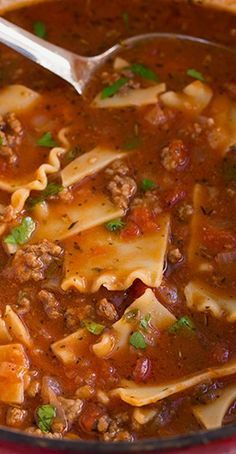 This lasagna soup is delicious! My family gives it 4 stars! I added double the meat because it was a very thin soup, but with the extra meat it was perfect. I didn't have canned diced tomatoes so I just cut up 1 1/2 of home grown tomatoes. I didnt have any of the 3 cheeses they said so I added 1/3 cup cottage cheese, 1 1/2 cup cheddar cheese, 1/2 cup pepper jack cheese and 1/4 cup smoked bacon cheese.