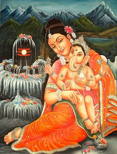 Mother Parvati and Ganesha