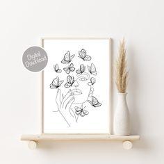 Butterfly Line Art, Woman Line Art Print, Line Art Print, Minimalist Decor Female Wall Art, One Line Drawing Print, Printable Wall Art