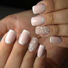 Beautiful Nail Art Ideas You Have To Try - Nail Stylish French Nails, Nail Polish Designs, Nail Art Designs, Nail Manicure, Gel Nails, Toenails, Uñas Diy, Art Simple, Bride Nails