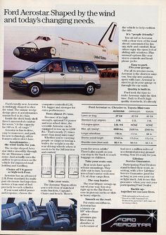 1987 Ford Aerostar, with it's 80's space age looks! Today it just looks like a brick with a diagonal cut on one side. Mine looked just like this one! This was car #2.