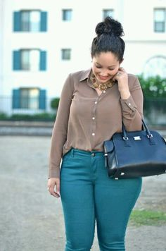 Neutral Top and Colored Jeans