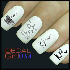 Coffee Nail Art Decal 32 Water Slide Decals by DecalGirlUSA, $3.85
