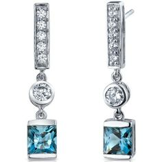 Exotic Sparkle 2.50 Carats London Blue Topaz Princess Cut Dangle Cubic Zirconia Earrings in Sterling Silver Rhodium Finish Peora. Save 80 Off!. $39.99