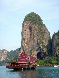 Traditional Junk Boat, Phra Nang Beach, Krabi, Thailand