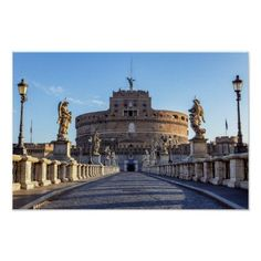 Empty Ponte Sant'Angelo at dawn - Rome Italy Poster Travel Wall Decor, Rome Italy, Custom Posters, Empty, Travel Destinations, Castle, Dawn, Vacation, Collections