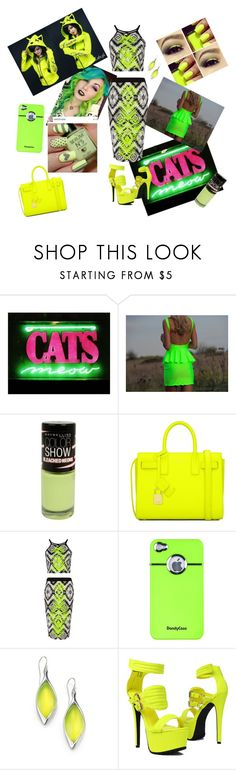 """""""neon green"""" by tobash21 ❤ liked on Polyvore featuring Maybelline, Yves Saint Laurent, AT&T, Alexis Bittar, Privileged by J.C. Dossier, neon and julyissuu"""