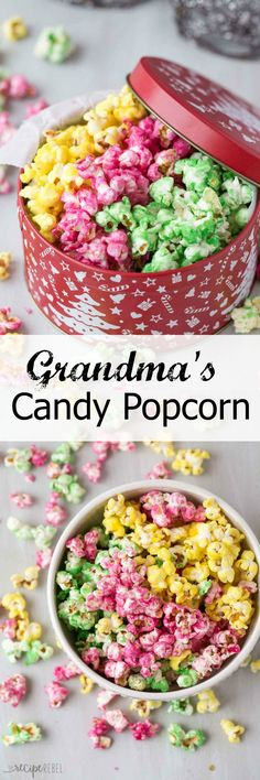 Candy Popcorn is an easy holiday treat that is perfect for gift giving! My Grandma's recipe!