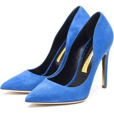Rupert Sanderson High Heel Pumps ($635) ❤ liked on Polyvore featuring shoes, pumps, high heel pumps, high heel shoes, suede pumps, suede shoes and rupert sanderson pumps