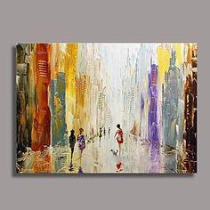 Abstracto Pintura a óleo Pintados à mão Tela Wall Art Artistas outros 1 Painel Pronto para pendurar – EUR € 71.99