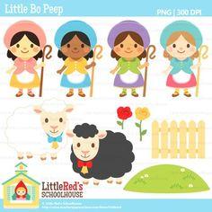 Clip Art - Little Bo Peep - Nursery Rhyme Clipart $