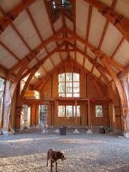 MA Timber Frame Studio Interior w/SIP all around exterior Oak Framed Buildings, Shop Buildings, Timber Frame Homes, Timber Frames, Sips Panels, Structural Insulated Panels, Timber Structure, A Frame Cabin, Tiny House Cabin