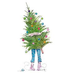 Putting up the tree. #pjs #christmaspjs #longbluestraw #illustration #christmas #sparkly