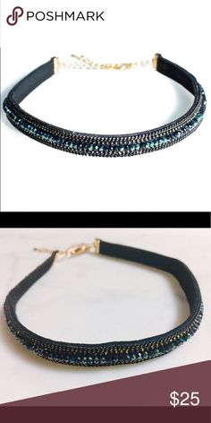 """Black gold beads stone choker Super chic and cute choker. Minimal yet it stands out because it's so stunning ! 😱 gold chains with night blue beads in the middle. Gold lobster clasp. 12"""" x 0.5"""" + 3"""" extended length. Not from listed brand. Feel free to ask any questions if you have. Thank you 😊 kate spade Jewelry Necklaces"""