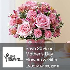 Save 20% on Mother's Day Flowers & Gifts purchases of $49.99+ at 1800flowers.com! Use promo code at checkout (Offer ends 5/8/2016)  Brought to you by http://www.imin.com and http://www.imin.com/store-coupons/1-800-flowers/