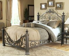 Fashion Bed Group Baroque Bed Frame in Gilded Slate - - - Air Beds, Sheets, Mattresses, and Bedding Accessories Cama Queen Size, Queen Size Bedding, Comforter Sets, Teal Comforter, Gray Bedding, King Comforter, Bed Sets, King Beds, Queen Beds