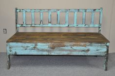 Five-footed turquoise slatted-back bench. Brian's Furniture, 515 Court St., Port Allen, (225) 346-0896, briansfurniture.com
