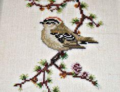 Framed Cross Stitch Bird Embroidery by CardinalVirtues on Etsy, £9.99