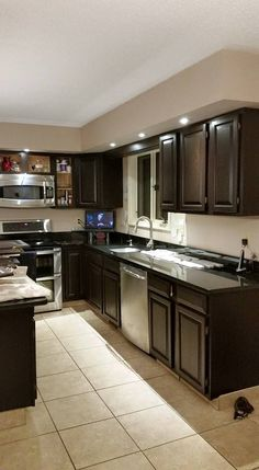 Java Gel Stain Applied To Honey Oak Cabinets. Kitchen ...