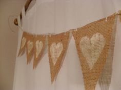 White Hearts Burlap Bunting Banners by candidDECOR on Etsy Burlap Bunting, Burlap Flowers, Bunting Banner, Wedding Silverware, Cute Banners, Flowers In Hair, Best Part Of Me, Hand Stitching, Christening
