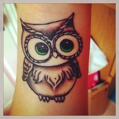 Owl Tattoo #owl #tattoo #greeneyes #cute ❤ liked on Polyvore featuring accessories, body art, tattoos, owls and tattos