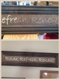 "This is my first attempt at a homemade sign.  the board is an old cabinet door panel that I stained ""Java espresso"".   Print your saying, trace letters using transfer paper, paint with acrylic paint.  Done!"