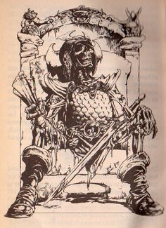 Interior illo, Fighting Fantasy 6 - Deathtrap Dungeon. Iain McCaig, 1984.