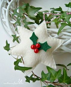 Felt Christmas star with holly. Photo only