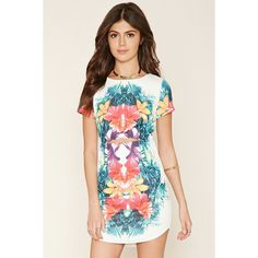 Forever 21 Women's  Tropical Print Mini Dress ($30) ❤ liked on Polyvore featuring dresses, forever 21 dresses, white dress, mini dress, short white dresses and white day dress