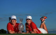 Paula Creamer and Brittany Lincicome of the USA with the trophy after the Sunday singles matches at the 2009 Solheim Cup Matches, at the Rich Harvest Farms Golf Club on August 2009 in Sugar Grove, Ilinois Sugar Grove, Paula Creamer, Harvest Farm, Brittany, Farms, Golf Clubs, Cool Pictures, Two By Two, Sunday