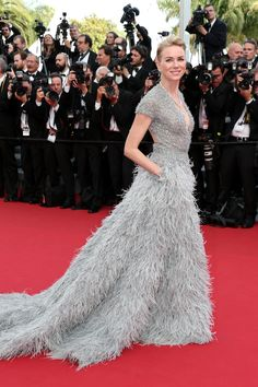 Watts has yet another old-school Hollywood moment in this plume-skirted silver number from Elie Saab Couture.   - MarieClaire.com