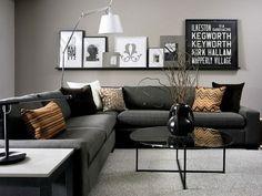 modern black and grey living room