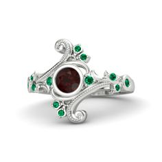 Round Red Garnet Sterling Silver Ring with Emerald - Flamenco Ring   Gemvara