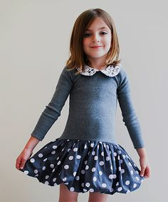 Love this Sophie Catalou Gray & Lavender Polka Dot Bubble Dress - Girls by Sophie Catalou on #zulily! #zulilyfinds
