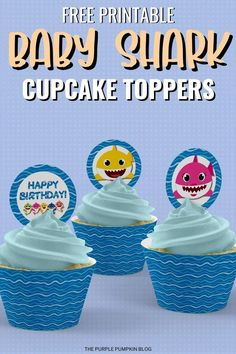 If you are looking for Free Baby Shark Party Printables then you have hit the jackpot! I've got a huge set of Baby Shark printables that has everything you need to throw an awesome themed party including invitations, party decorations, cupcake toppers, and more! Party Food Labels, Party Printables, Free Printables, Shark Cupcakes, Purple Pumpkin, Shark Party, Baby Shark, Free Baby Stuff, Themed Cakes