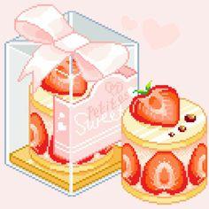 Strawberry Shortcake by pretty-transparents. Pixel Art Food, Anime Pixel Art, Stickers Kawaii, Cute Stickers, Kawaii Drawings, Cute Drawings, Pixel Kawaii, Bead Board Walls, Pelo Anime
