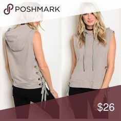 NEW! Sleeveless Hooded Top with Lace-Up Sides Gray sleeveless hoodie sweatshirt with lace-up sides. Drop armholes, cotton with 5% spandex. Soft and cool material. Great for layering or on its own. PRICE FIRM Tops Sweatshirts & Hoodies