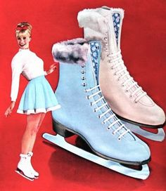 Figure skates in blue and white, fashioned with orlon cuffs. Montgomery Ward Christmas Catalog 1964