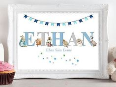 Peter Rabbit Personalised Name Picture Print Christening Gift Nursery Baby Name Pictures, Print Pictures, Personalised Christening Gifts, Peter Rabbit, Nursery, Tapestry, Baby Things, Birthday, Frame