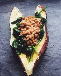 Japanese sweet potato stuffed with spinach and natto (fermented soybean) - Dietetic Aesthetic | Capture the flavor #EEEEEATS, #truecooks, #yougottaeatthis, #foodie, #yum, #foodphotography, #buzzfeedfood, #feedfeed, #instafood, #food, #foodlove, #foodies, #japanese, #vegetarian, #vegansofinstagram, #farmacy, #crueltyfree, #whatdoveganseat, #vegantalk, #imavegan, #veganfriends, #veganlife, #meantome, #halal, #food, #foodie, #asia, #natural, #nature, #savetheplanet, #green, #gogreen, #organic