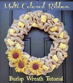 How to Make a Multi-Colored Ribbon Burlap Wreath