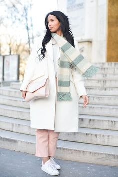 Pin for Later: How to Dress For Spring When It's Still Kind of Cold Outside Try Pastel Trousers Start introducing lighter-colored staples into your wardrobe with a structured pair of trousers, rather than going with a full-on floral dress.