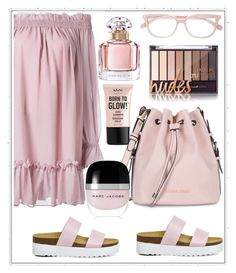 """pink"" by aagyekumwaa ❤ liked on Polyvore featuring Alexander McQueen, Office, Armani Jeans, STELLA McCARTNEY, Guerlain, Marc Jacobs and NYX"