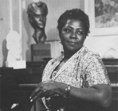 Selma Burke at her Bucks County home circa 1950s. Photo is from the Pennsylvania Academy of the Fine Arts site.