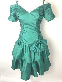 Vintage Green Prom Dress Union Made Size 7 8 Taffeta Shiny 80s 90s Party 37de31413