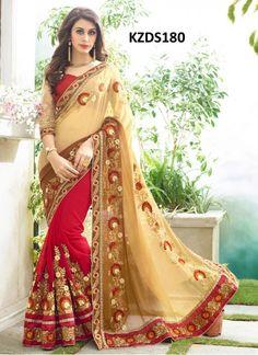 Buy Georgette Red & Cream Designer Saree