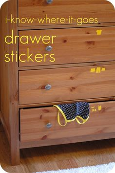 Drawer stickers make putting clothes away a breeze for little ones! How to make them (or buy them) - and make it easier for kids to feel good about helping organize themselves.